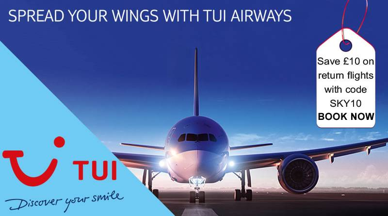 Save an extra £10 on return flights including children aged 2 and over on TUI flights